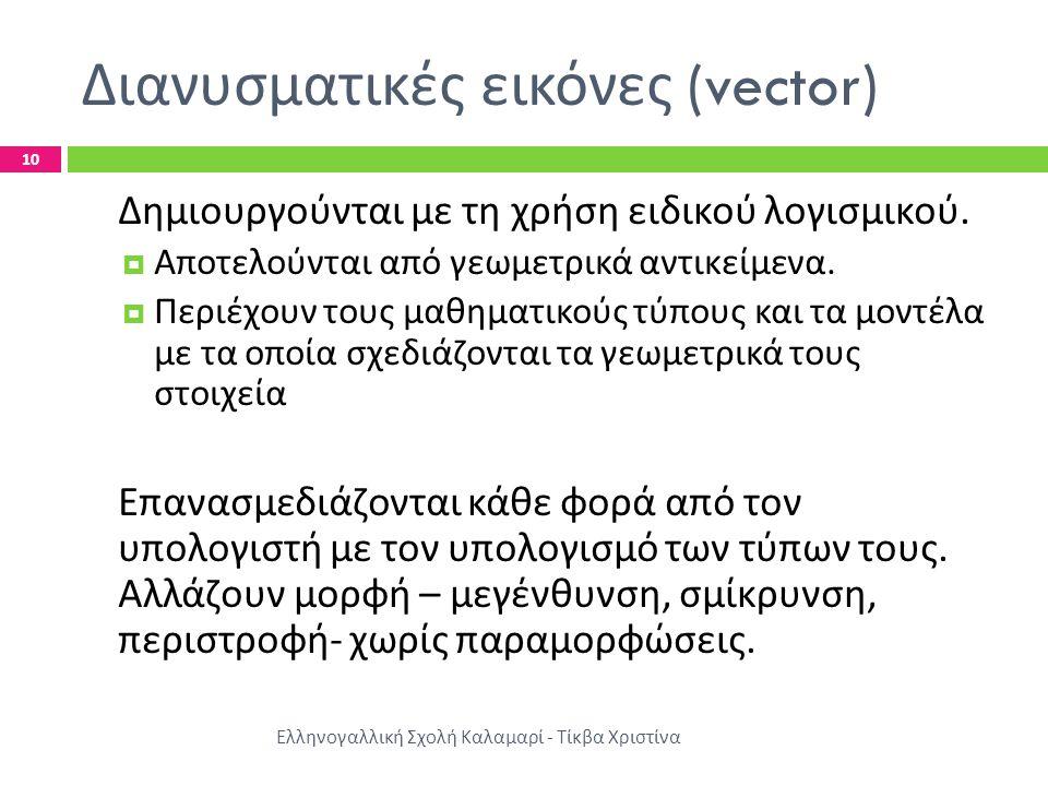 Διανυσματικές εικόνες (vector) Ελληνογαλλική Σχολή Καλαμαρί - Τίκβα Χριστίνα 10 Δημιουργούνται με τη χρήση ειδικού λογισμικού.  Αποτελούνται από γεωμ