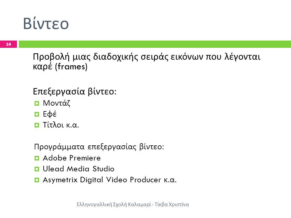 Βίντεο Ελληνογαλλική Σχολή Καλαμαρί - Τίκβα Χριστίνα 14 Προβολή μιας διαδοχικής σειράς εικόνων που λέγονται καρέ (frames) Επεξεργασία βίντεο :  Μοντά