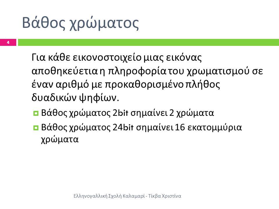 Βάθος χρώματος Ελληνογαλλική Σχολή Καλαμαρί - Τίκβα Χριστίνα 4 Για κάθε εικονοστοιχείο μιας εικόνας αποθηκεύετια η πληροφορία του χρωματισμού σε έναν