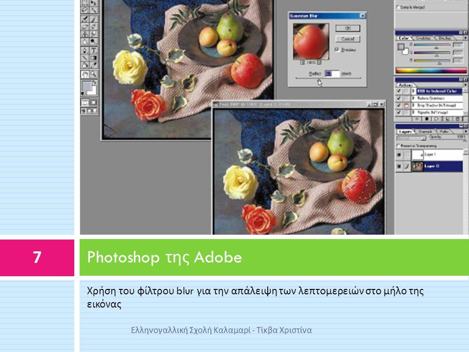 Χρήση του φίλτρου blur για την απάλειψη των λεπτομερειών στο μήλο της εικόνας Photoshop της Adobe 7 Ελληνογαλλική Σχολή Καλαμαρί - Τίκβα Χριστίνα