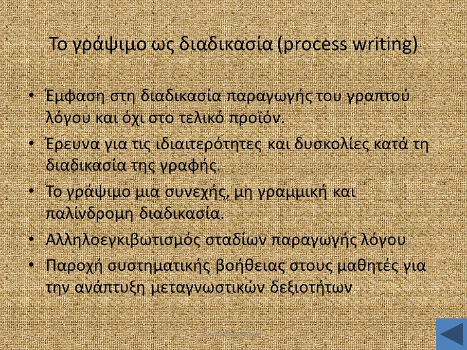 Έλενα Βλαχογιάννη Το γράψιμο ως διαδικασία (process writing) • Έμφαση στη διαδικασία παραγωγής του γραπτού λόγου και όχι στο τελικό προϊόν. • Έρευνα γ
