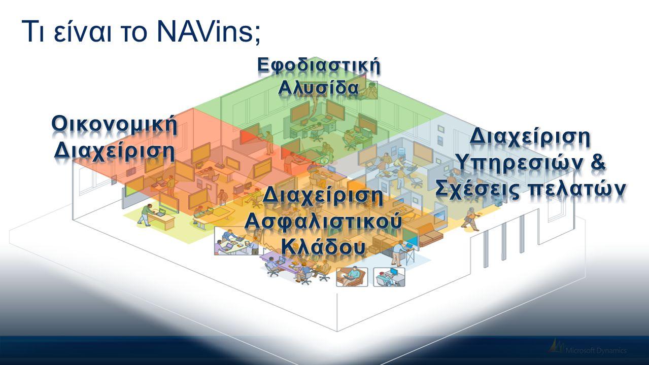 NAVins for Microsoft Dynamics NAV H πρόταση της DIASTASYS για τον ασφαλιστικό κλάδο συνίσταται στο NAVins for Microsoft Dynamics NAV με σκοπό την ενιαία λειτουργία & διαχείριση, όπως και την ολοκλήρωση με το ERP & η οποία εγγυάται:  Ολοκληρωμένη διαχείριση ενοποιώντας πληροφοριακά & λειτουργικά τα δυνητικά υποσυστήματα,  Εύρυθμη & συνεχής υποστήριξη λειτουργίας (day-to-day),  Αξιόπιστη και αξιοποιήσιμη επιχειρησιακή πληροφόρηση & γνώση,  Έγκαιρη δυνατότητα απόκρισης στις μεταβολές της ασφαλιστικής αγοράς,  Επεκτασιμότητα χωρίς όρια και πλήρης συμμόρφωση στους κανόνες του κλάδου  Ασφάλεια και ανταποδοτικότητα στην επένδυση.