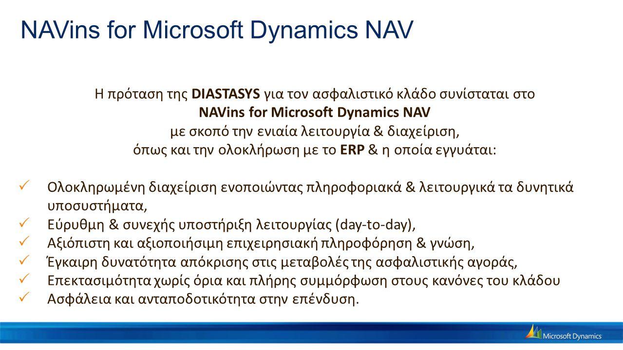 NAVins for Microsoft Dynamics NAV H πρόταση της DIASTASYS για τον ασφαλιστικό κλάδο συνίσταται στο NAVins for Microsoft Dynamics NAV με σκοπό την ενια