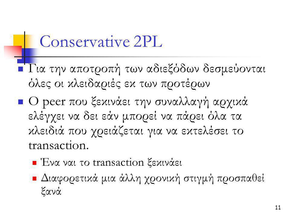 11 Conservative 2PL  Για την αποτροπή των αδιεξόδων δεσμεύονται όλες οι κλειδαριές εκ των προτέρων  Ο peer που ξεκινάει την συναλλαγή αρχικά ελέγχει να δει εάν μπορεί να πάρει όλα τα κλειδιά που χρειάζεται για να εκτελέσει το transaction.