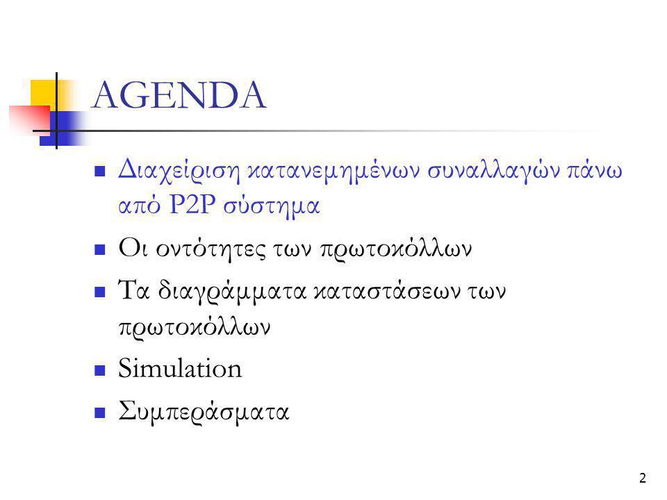 2 AGENDA  Διαχείριση κατανεμημένων συναλλαγών πάνω από Ρ2Ρ σύστημα  Οι οντότητες των πρωτοκόλλων  Τα διαγράμματα καταστάσεων των πρωτοκόλλων  Simu