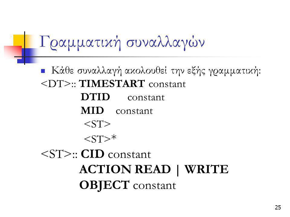 25 Γραμματική συναλλαγών  Κάθε συναλλαγή ακολουθεί την εξής γραμματική: :: TIMESTART constant DTIDconstant MID constant * :: CID constant ACTION READ | WRITE OBJECT constant