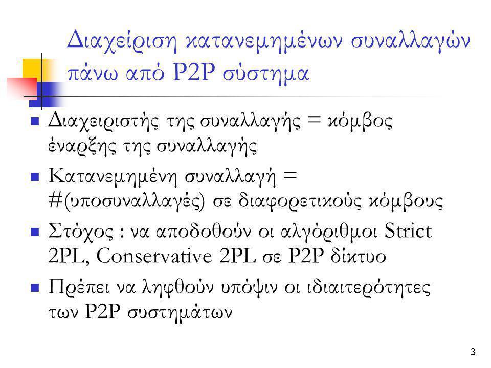 3 Διαχείριση κατανεμημένων συναλλαγών πάνω από Ρ2Ρ σύστημα  Διαχειριστής της συναλλαγής = κόμβος έναρξης της συναλλαγής  Κατανεμημένη συναλλαγή = #(υποσυναλλαγές) σε διαφορετικούς κόμβους  Στόχος : να αποδοθούν οι αλγόριθμοι Strict 2PL, Conservative 2PL σε P2P δίκτυο  Πρέπει να ληφθούν υπόψιν οι ιδιαιτερότητες των Ρ2Ρ συστημάτων
