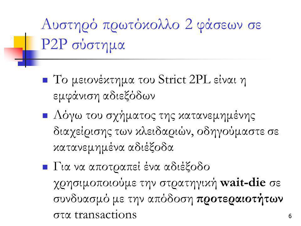 6 Αυστηρό πρωτόκολλο 2 φάσεων σε Ρ2Ρ σύστημα  Το μειονέκτημα του Strict 2PL είναι η εμφάνιση αδιεξόδων  Λόγω του σχήματος της κατανεμημένης διαχείρισης των κλειδαριών, οδηγούμαστε σε κατανεμημένα αδιέξοδα  Για να αποτραπεί ένα αδιέξοδο χρησιμοποιούμε την στρατηγική wait-die σε συνδυασμό με την απόδοση προτεραιοτήτων στα transactions