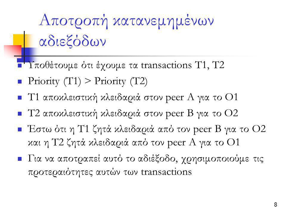 8 Αποτροπή κατανεμημένων αδιεξόδων  Υποθέτουμε ότι έχουμε τα transactions Τ1, Τ2  Priority (T1) > Priority (T2)  T1 αποκλειστική κλειδαριά στον peer A για το Ο1  T2 αποκλειστική κλειδαριά στον peer Β για το Ο2  Έστω ότι η T1 ζητά κλειδαριά από τον peer Β για το Ο2 και η T2 ζητά κλειδαριά από τον peer Α για το Ο1  Για να αποτραπεί αυτό το αδιέξοδο, χρησιμοποιούμε τις προτεραιότητες αυτών των transactions