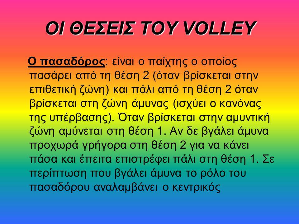 ΟΙ ΘΕΣΕΙΣ ΤΟΥ VOLLEY Ο πασαδόρος: είναι ο παίχτης ο οποίος πασάρει από τη θέση 2 (όταν βρίσκεται στην επιθετική ζώνη) και πάλι από τη θέση 2 όταν βρίσκεται στη ζώνη άμυνας (ισχύει ο κανόνας της υπέρβασης).