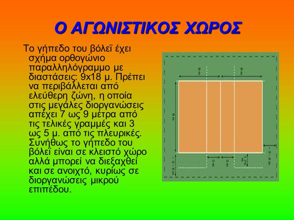 Ο ΑΓΩΝΙΣΤΙΚΟΣ ΧΩΡΟΣ Το γήπεδο του βόλεϊ έχει σχήμα ορθογώνιο παραλληλόγραμμο με διαστάσεις: 9x18 μ. Πρέπει να περιβάλλεται από ελεύθερη ζώνη, η οποία