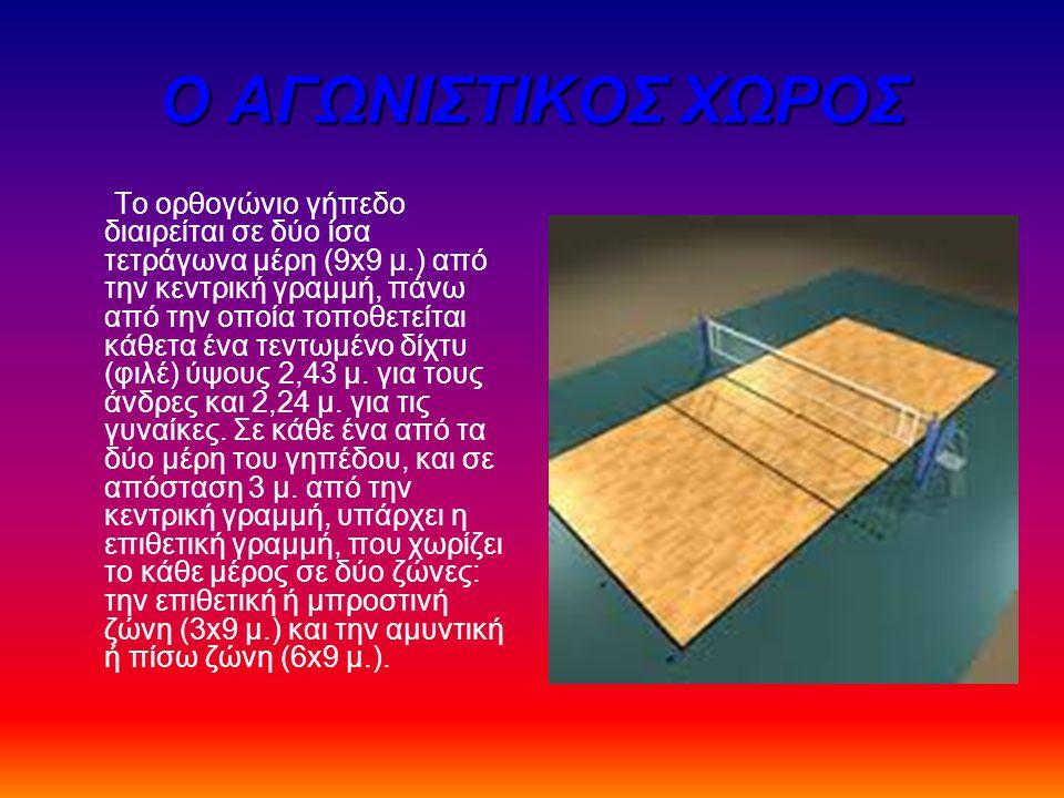 Ο ΑΓΩΝΙΣΤΙΚΟΣ ΧΩΡΟΣ Το ορθογώνιο γήπεδο διαιρείται σε δύο ίσα τετράγωνα μέρη (9x9 μ.) από την κεντρική γραμμή, πάνω από την οποία τοποθετείται κάθετα ένα τεντωμένο δίχτυ (φιλέ) ύψους 2,43 μ.