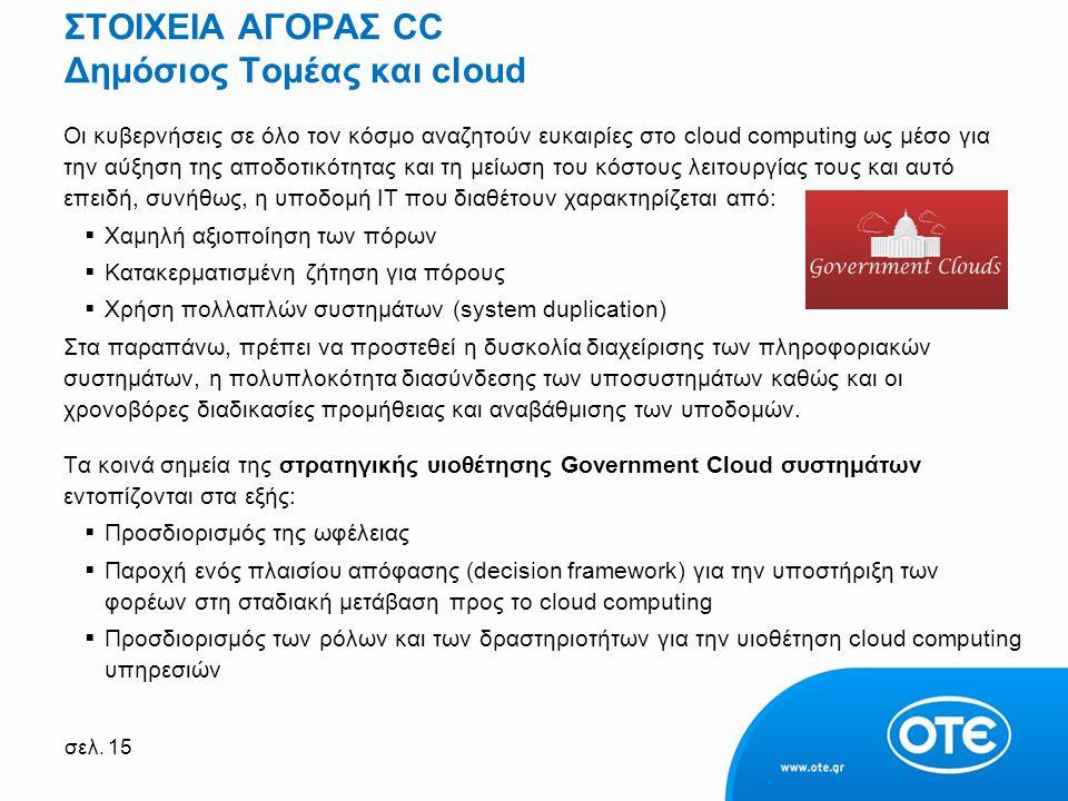 σελ. 15 ΣΤΟΙΧΕΙΑ ΑΓΟΡΑΣ CC Δημόσιος Τομέας και cloud Οι κυβερνήσεις σε όλο τον κόσμο αναζητούν ευκαιρίες στο cloud computing ως μέσο για την αύξηση τη