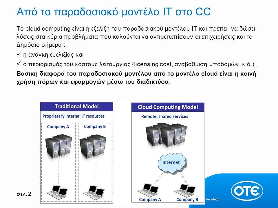 σελ. 2 Από το παραδοσιακό μοντέλο ΙΤ στο CC Το cloud computing είναι η εξέλιξη του παραδοσιακού μοντέλου IT και πρέπει να δώσει λύσεις στα κύρια προβλ