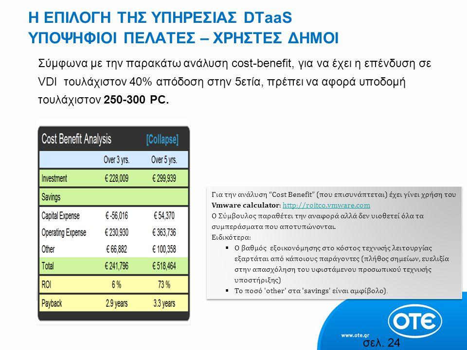 H ΕΠΙΛΟΓΗ ΤΗΣ ΥΠΗΡΕΣΙΑΣ DTaaS ΥΠΟΨΗΦΙΟΙ ΠΕΛΑΤΕΣ – ΧΡΗΣΤΕΣ ΔΗΜΟΙ Σύμφωνα με την παρακάτω ανάλυση cost-benefit, για να έχει η επένδυση σε VDI τουλάχιστον 40% απόδοση στην 5ετία, πρέπει να αφορά υποδομή τουλάχιστον 250-300 PC.