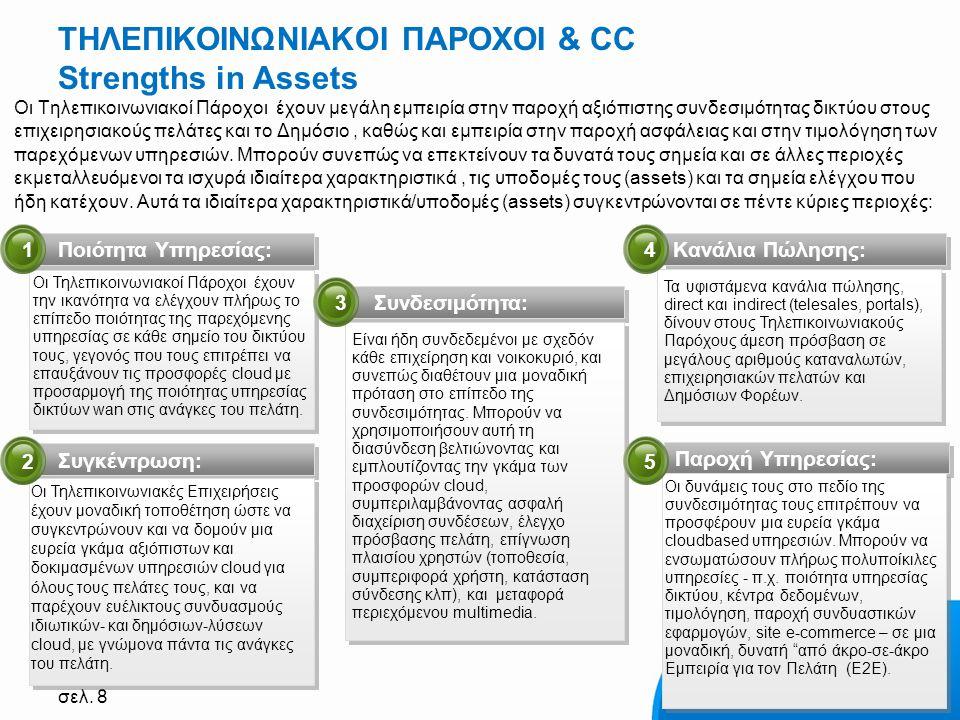 σελ. 8 ΤΗΛΕΠΙΚΟΙΝΩΝΙΑΚΟΙ ΠΑΡΟΧΟΙ & CC Strengths in Assets Οι Τηλεπικοινωνιακοί Πάροχοι έχουν μεγάλη εμπειρία στην παροχή αξιόπιστης συνδεσιμότητας δικ