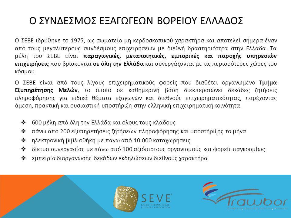 Ο ΣΥΝΔΕΣΜΟΣ ΕΞΑΓΩΓΕΩΝ ΒΟΡΕΙΟΥ ΕΛΛΑΔΟΣ Ο ΣΕΒΕ ιδρύθηκε το 1975, ως σωματείο μη κερδοσκοπικού χαρακτήρα και αποτελεί σήμερα έναν από τους μεγαλύτερους συνδέσμους επιχειρήσεων με διεθνή δραστηριότητα στην Ελλάδα.
