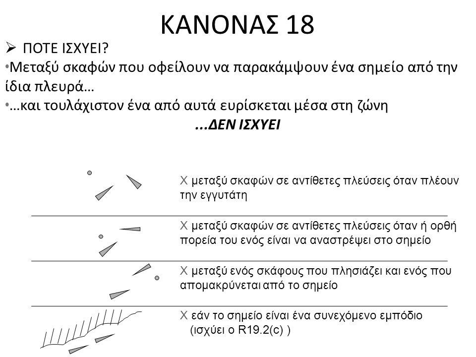 ΚΑΝΟΝΑΣ 18  ΠΟΤΕ ΙΣΧΥΕΙ? • Μεταξύ σκαφών που οφείλουν να παρακάμψουν ένα σημείο από την ίδια πλευρά… • …και τουλάχιστον ένα από αυτά ευρίσκεται μέσα