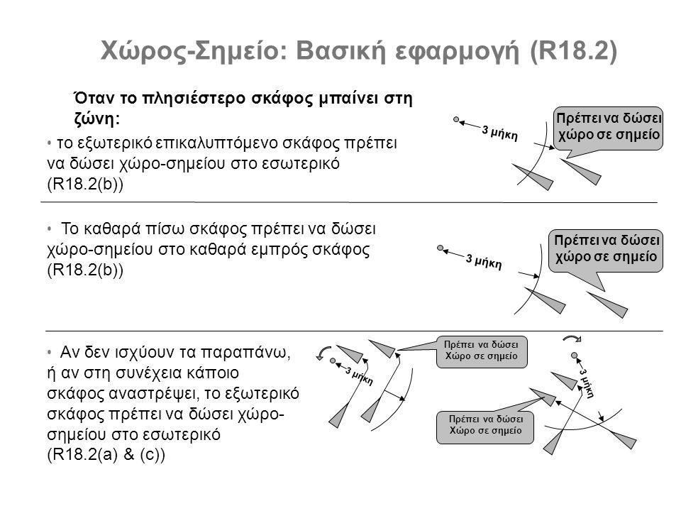 3 μήκη Πρέπει να δώσει χώρο σε σημείο 3 μήκη Πρέπει να δώσει χώρο σε σημείο 3 μήκη Πρέπει να δώσει Χώρο σε σημείο 3 μήκη Πρέπει να δώσει Χώρο σε σημείο Χώρος-Σημείο: Βασική εφαρμογή (R18.2) Όταν το πλησιέστερο σκάφος μπαίνει στη ζώνη: • το εξωτερικό επικαλυπτόμενο σκάφος πρέπει να δώσει χώρο-σημείου στο εσωτερικό (R18.2(b)) • Το καθαρά πίσω σκάφος πρέπει να δώσει χώρο-σημείου στο καθαρά εμπρός σκάφος (R18.2(b)) • Αν δεν ισχύουν τα παραπάνω, ή αν στη συνέχεια κάποιο σκάφος αναστρέψει, το εξωτερικό σκάφος πρέπει να δώσει χώρο- σημείου στο εσωτερικό (R18.2(a) & (c))