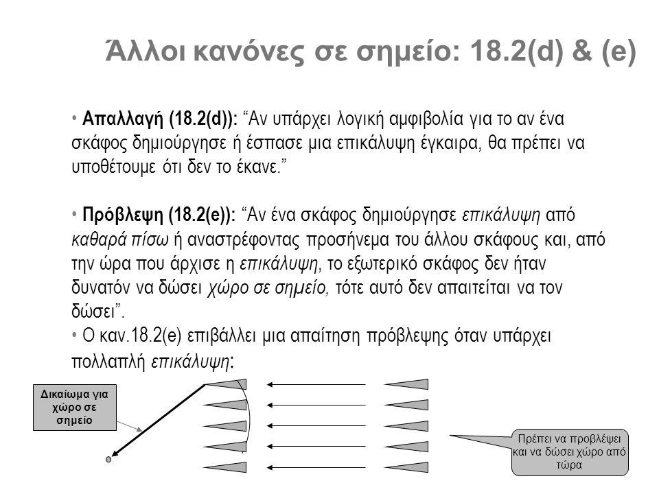 Άλλοι κανόνες σε σημείο: 18.2(d) & (e) • Απαλλαγή (18.2(d)): Αν υπάρχει λογική αμφιβολία για το αν ένα σκάφος δημιούργησε ή έσπασε μια επικάλυψη έγκαιρα, θα πρέπει να υποθέτουμε ότι δεν το έκανε. • Πρόβλεψη (18.2(e)): Αν ένα σκάφος δημιούργησε επικάλυψη από καθαρά πίσω ή αναστρέφοντας προσήνεμα του άλλου σκάφους και, από την ώρα που άρχισε η επικάλυψη, το εξωτερικό σκάφος δεν ήταν δυνατόν να δώσει χώρο σε σημείο, τότε αυτό δεν απαιτείται να τον δώσει .