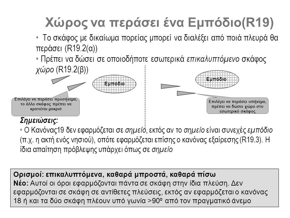 Χώρος να περάσει ένα Εμπόδιο(R19) • Το σκάφος με δικαίωμα πορείας μπορεί να διαλέξει από ποιά πλευρά θα περάσει (R19.2(α)) • Πρέπει να δώσει σε οποιοδήποτε εσωτερικά επικαλυπτόμενο σκάφος χώρο (R19.2(β)) Ορισμοί: επικαλυπτόμενα, καθαρά μπροστά, καθαρά πίσω Νέο: Αυτοί οι όροι εφαρμόζονται πάντα σε σκάφη στην ίδια πλεύση.