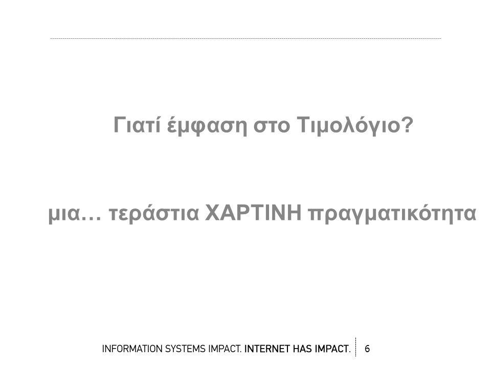 250 εκατομμύρια χαρτάκια τιμολογίων διακινούνται ετησίως στην Ελλάδα 4-10 ευρώ κόστος ανά τιμολόγιο => ~ 2 δισ Ευρώ / έτος (ενώ στο εξωτερικό υπολογίζεται από 7 έως και 20Ευρώ!) 300.000 δέντρα το έτος για την παραγωγή του χαρτιού Από το 2006 βάσει νομοθεσίας μπορεί να γίνουν ηλεκτρονικά.