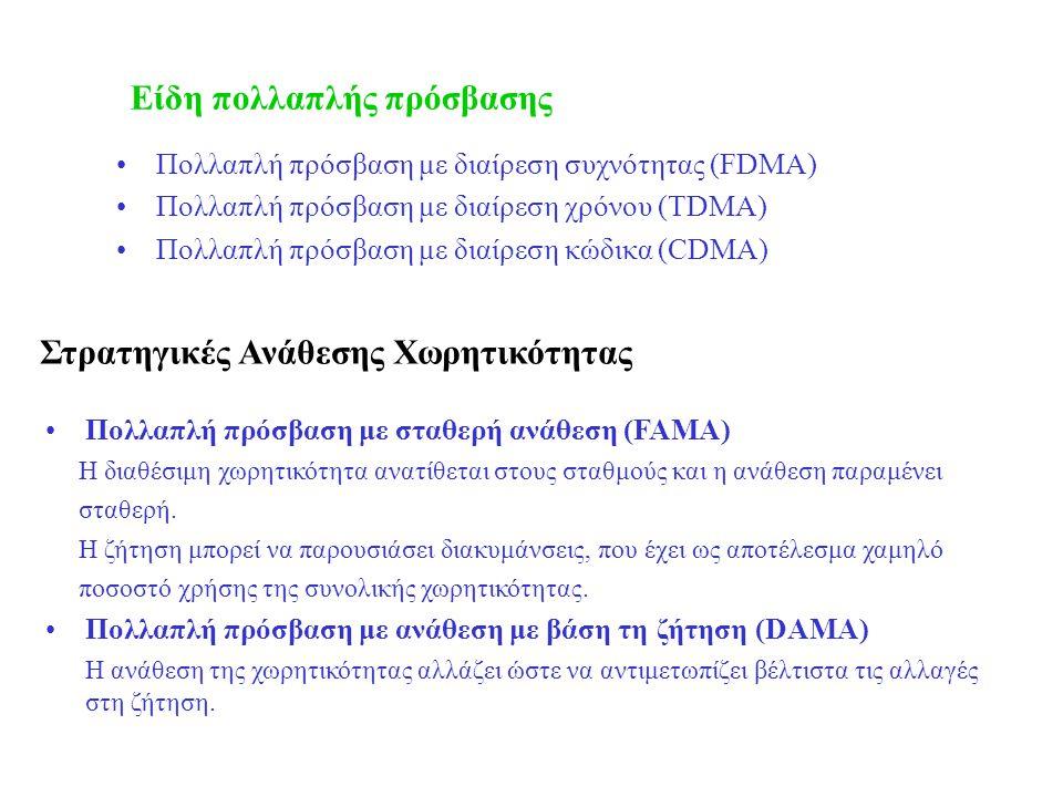 Στρατηγικές Ανάθεσης Χωρητικότητας •Πολλαπλή πρόσβαση με διαίρεση συχνότητας (FDMA) •Πολλαπλή πρόσβαση με διαίρεση χρόνου (TDMA) •Πολλαπλή πρόσβαση με διαίρεση κώδικα (CDMA) •Πολλαπλή πρόσβαση με σταθερή ανάθεση (FAMA) Η διαθέσιμη χωρητικότητα ανατίθεται στους σταθμούς και η ανάθεση παραμένει σταθερή.