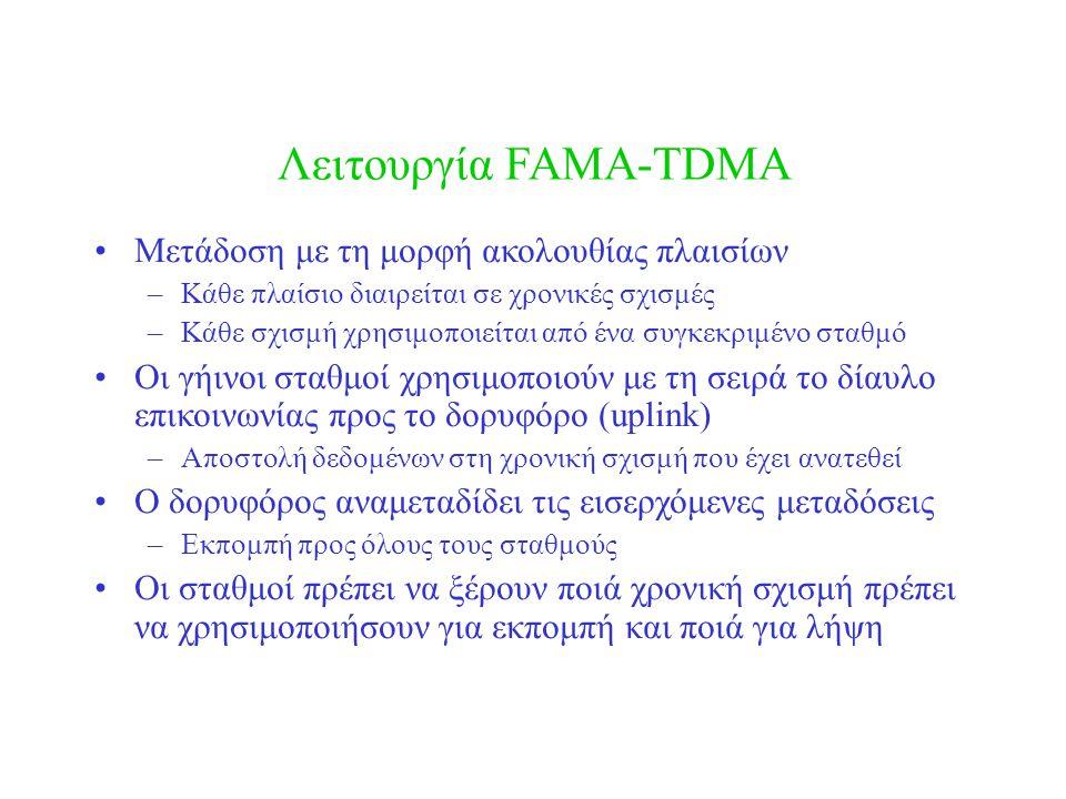 Λειτουργία FAMA-TDMA •Μετάδοση με τη μορφή ακολουθίας πλαισίων –Κάθε πλαίσιο διαιρείται σε χρονικές σχισμές –Κάθε σχισμή χρησιμοποιείται από ένα συγκε