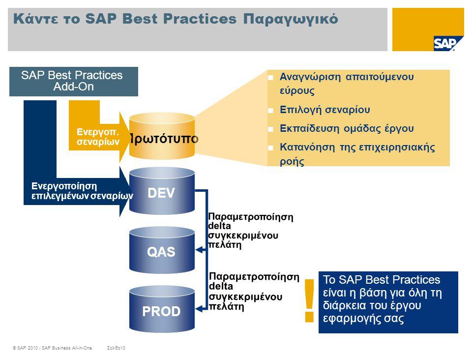 © SAP 2010 / SAP Business All-in-OneΣελίδα10 Κάντε το SAP Best Practices Παραγωγικό Το SAP Best Practices είναι η βάση για όλη τη διάρκεια του έργου ε