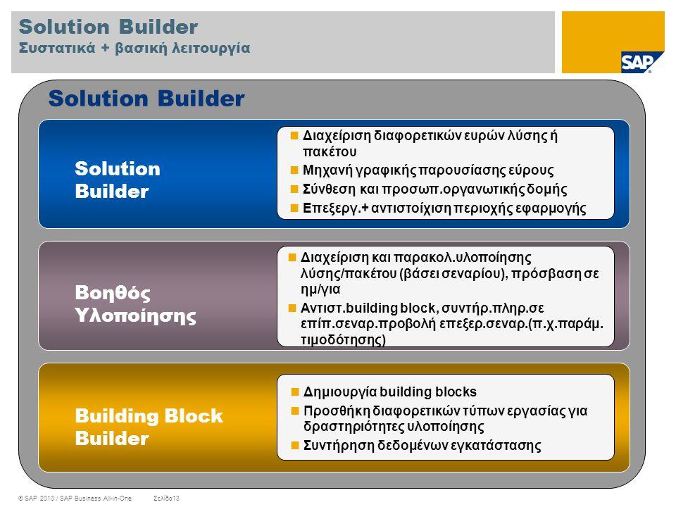 © SAP 2010 / SAP Business All-in-OneΣελίδα13 Solution Builder  Διαχείριση διαφορετικών ευρών λύσης ή πακέτου  Μηχανή γραφικής παρουσίασης εύρους  Σ