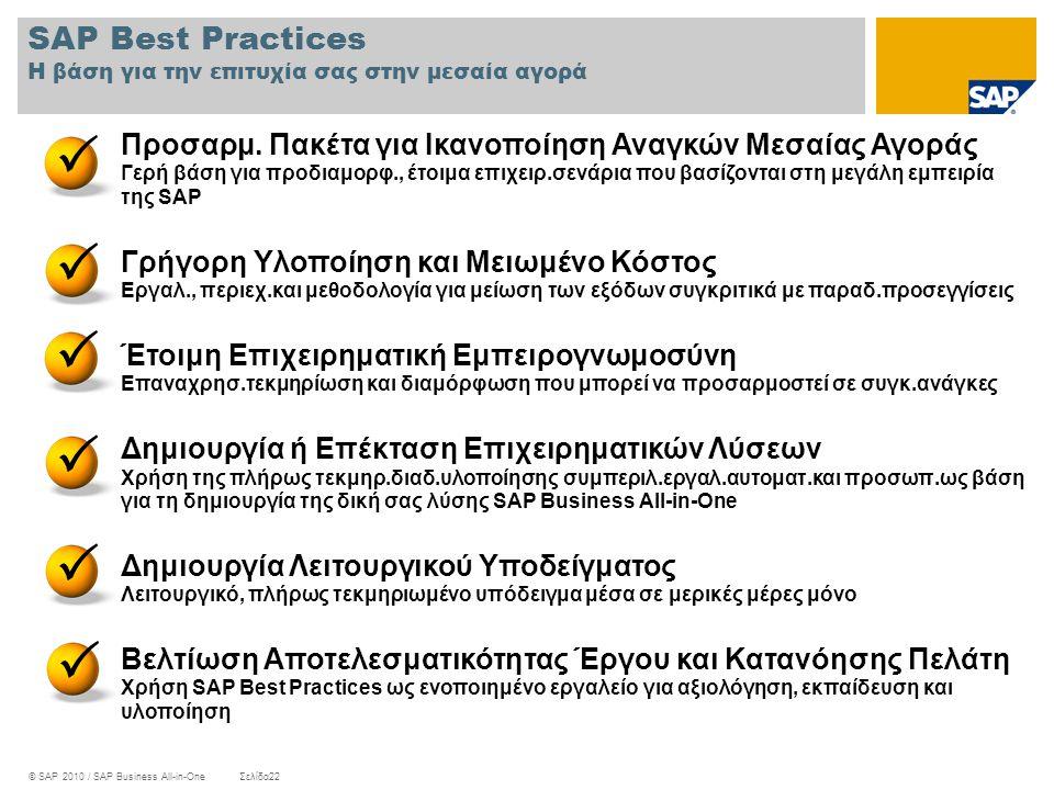 © SAP 2010 / SAP Business All-in-OneΣελίδα22 SAP Best Practices Η βάση για την επιτυχία σας στην μεσαία αγορά Προσαρμ. Πακέτα για Ικανοποίηση Αναγκών