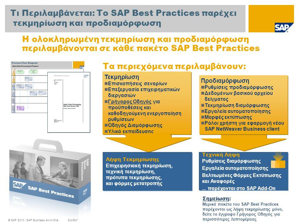 © SAP 2010 / SAP Business All-in-OneΣελίδα7 Τεκμηρίωση  Επισκοπήσεις σεναρίων  Επεξεργασία επιχειρηματικών διεργασιών  Γρήγορος Οδηγός για προϋποθέ