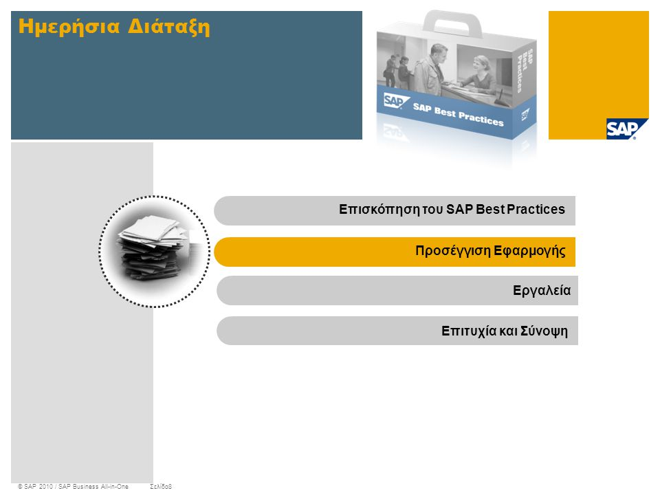 © SAP 2010 / SAP Business All-in-OneΣελίδα8 Ημερήσια Διάταξη Επισκόπηση του SAP Best PracticesΠροσέγγιση Εφαρμογής Εργαλεία Επιτυχία και Σύνοψη