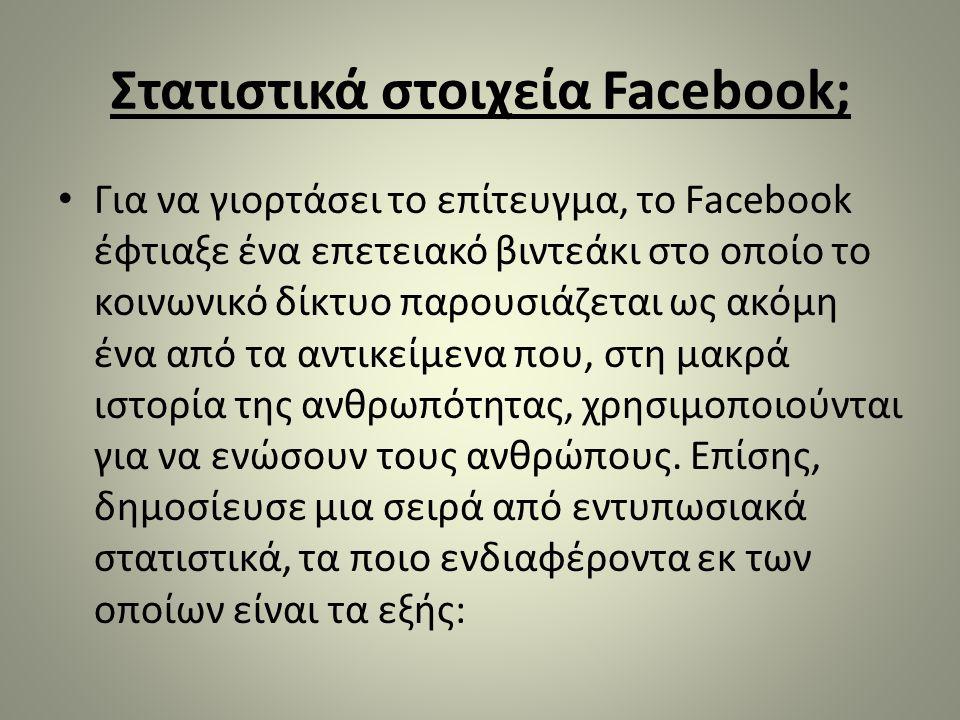 Στατιστικά στοιχεία Facebook; • Για να γιορτάσει το επίτευγμα, το Facebook έφτιαξε ένα επετειακό βιντεάκι στο οποίο το κοινωνικό δίκτυο παρουσιάζεται