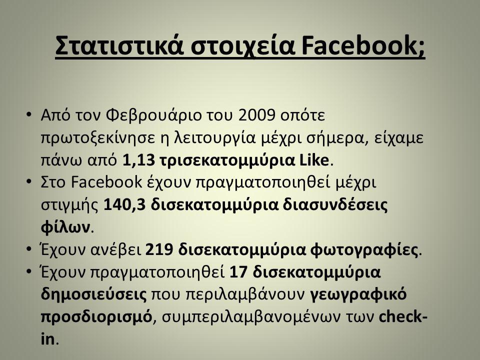 Στατιστικά στοιχεία Facebook; • Από τον Φεβρουάριο του 2009 οπότε πρωτοξεκίνησε η λειτουργία μέχρι σήμερα, είχαμε πάνω από 1,13 τρισεκατομμύρια Like.