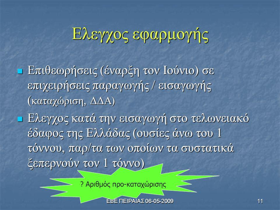 ΕΒΕ ΠΕΙΡΑΙΑΣ 06-05-200911 Ελεγχος εφαρμογής  Επιθεωρήσεις (έναρξη τον Ιούνιο) σε επιχειρήσεις παραγωγής / εισαγωγής ( καταχώριση, ΔΔΑ)  Ελεγχος κατά την εισαγωγή στο τελωνειακό έδαφος της Ελλάδας (ουσίες άνω του 1 τόννου, παρ/τα των οποίων τα συστατικά ξεπερνούν τον 1 τόννο) .
