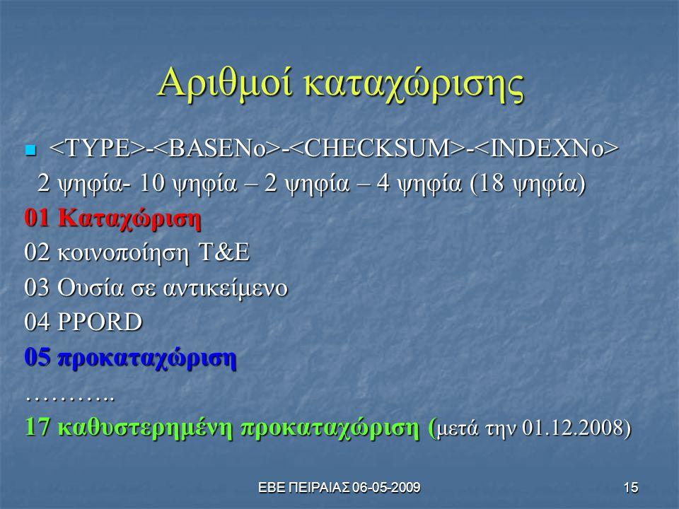 ΕΒΕ ΠΕΙΡΑΙΑΣ 06-05-200915 Αριθμοί καταχώρισης  - - -  - - - 2 ψηφία- 10 ψηφία – 2 ψηφία – 4 ψηφία (18 ψηφία) 2 ψηφία- 10 ψηφία – 2 ψηφία – 4 ψηφία (