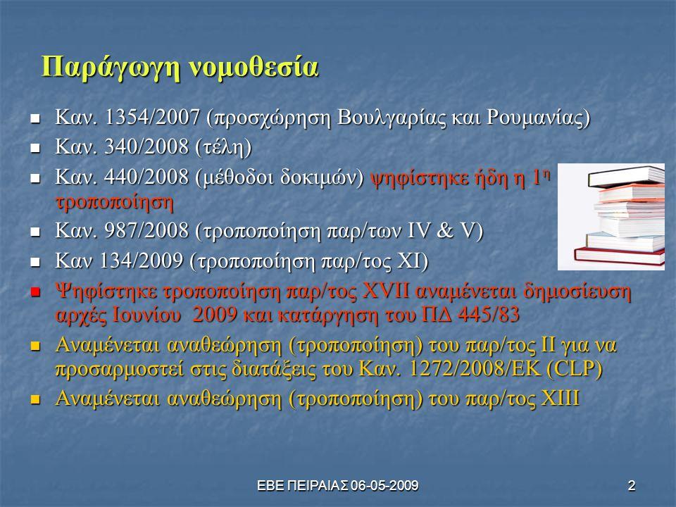 ΕΒΕ ΠΕΙΡΑΙΑΣ 06-05-20092 Παράγωγη νομοθεσία  Καν. 1354/2007 (προσχώρηση Βουλγαρίας και Ρουμανίας)  Καν. 340/2008 (τέλη)  Καν. 440/2008 (μέθοδοι δοκ
