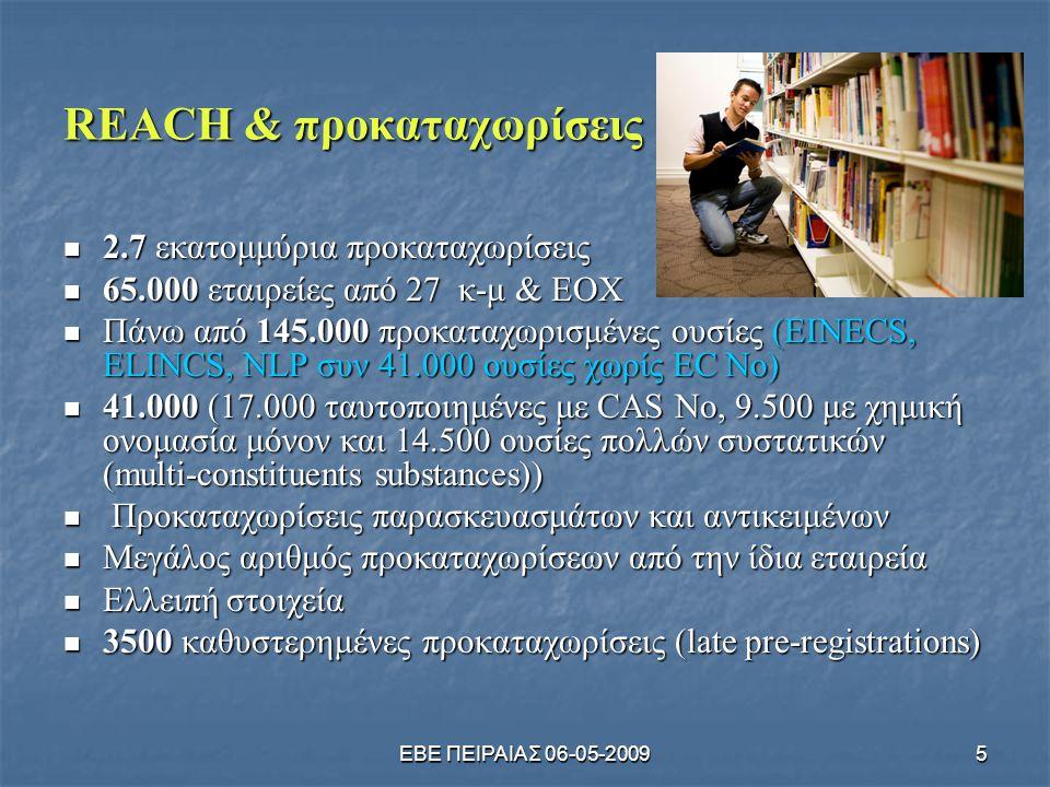 ΕΒΕ ΠΕΙΡΑΙΑΣ 06-05-20095 REACH & προκαταχωρίσεις  2.7 εκατομμύρια προκαταχωρίσεις  65.000 εταιρείες από 27 κ-μ & ΕΟΧ  Πάνω από 145.000 προκαταχωρισ