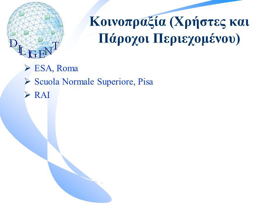 Κοινοπραξία (Χρήστες και Πάροχοι Περιεχομένου)  ESA, Roma  Scuola Normale Superiore, Pisa  RAI