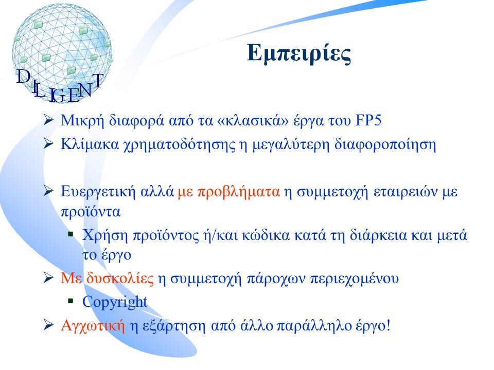 Εμπειρίες  Μικρή διαφορά από τα «κλασικά» έργα του FP5  Κλίμακα χρηματοδότησης η μεγαλύτερη διαφοροποίηση  Ευεργετική αλλά με προβλήματα η συμμετοχή εταιρειών με προϊόντα  Χρήση προϊόντος ή/και κώδικα κατά τη διάρκεια και μετά το έργο  Με δυσκολίες η συμμετοχή πάροχων περιεχομένου  Copyright  Αγχωτική η εξάρτηση από άλλο παράλληλο έργο!