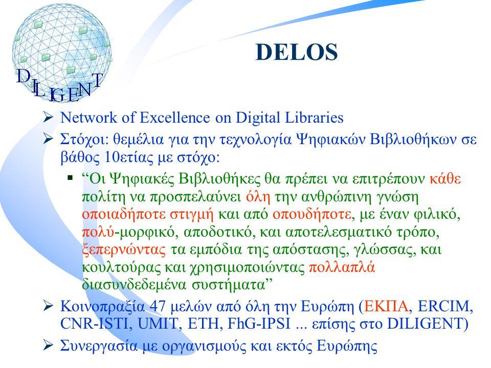 DELOS  Network of Excellence on Digital Libraries  Στόχοι: θεμέλια για την τεχνολογία Ψηφιακών Βιβλιοθήκων σε βάθος 10ετίας με στόχο:  Οι Ψηφιακές Βιβλιοθήκες θα πρέπει να επιτρέπουν κάθε πολίτη να προσπελαύνει όλη την ανθρώπινη γνώση οποιαδήποτε στιγμή και από οπουδήποτε, με έναν φιλικό, πολύ-μορφικό, αποδοτικό, και αποτελεσματικό τρόπο, ξεπερνώντας τα εμπόδια της απόστασης, γλώσσας, και κουλτούρας και χρησιμοποιώντας πολλαπλά διασυνδεδεμένα συστήματα  Κοινοπραξία 47 μελών από όλη την Ευρώπη (ΕΚΠΑ, ERCIM, CNR-ISTI, UMIT, ETH, FhG-IPSI...