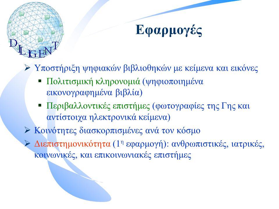 Εφαρμογές  Υποστήριξη ψηφιακών βιβλιοθηκών με κείμενα και εικόνες  Πολιτισμική κληρονομιά (ψηφιοποιημένα εικονογραφημένα βιβλία)  Περιβαλλοντικές επιστήμες (φωτογραφίες της Γης και αντίστοιχα ηλεκτρονικά κείμενα)  Κοινότητες διασκορπισμένες ανά τον κόσμο  Διεπιστημονικότητα (1 η εφαρμογή): ανθρωπιστικές, ιατρικές, κοινωνικές, και επικοινωνιακές επιστήμες