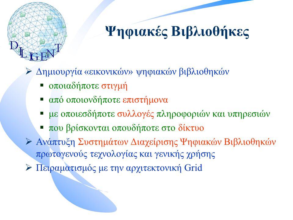 Ψηφιακές Βιβλιοθήκες  Δημιουργία «εικονικών» ψηφιακών βιβλιοθηκών  οποιαδήποτε στιγμή  από οποιονδήποτε επιστήμονα  με οποιεσδήποτε συλλογές πληροφοριών και υπηρεσιών  που βρίσκονται οπουδήποτε στο δίκτυο  Ανάπτυξη Συστημάτων Διαχείρισης Ψηφιακών Βιβλιοθηκών πρωτογενούς τεχνολογίας και γενικής χρήσης  Πειραματισμός με την αρχιτεκτονική Grid