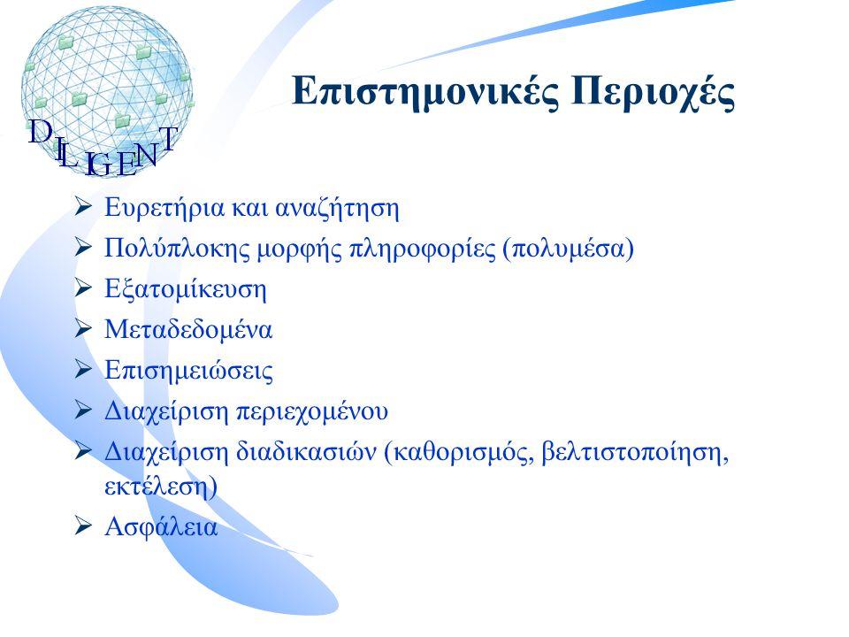 Επιστημονικές Περιοχές  Ευρετήρια και αναζήτηση  Πολύπλοκης μορφής πληροφορίες (πολυμέσα)  Εξατομίκευση  Μεταδεδομένα  Επισημειώσεις  Διαχείριση περιεχομένου  Διαχείριση διαδικασιών (καθορισμός, βελτιστοποίηση, εκτέλεση)  Ασφάλεια
