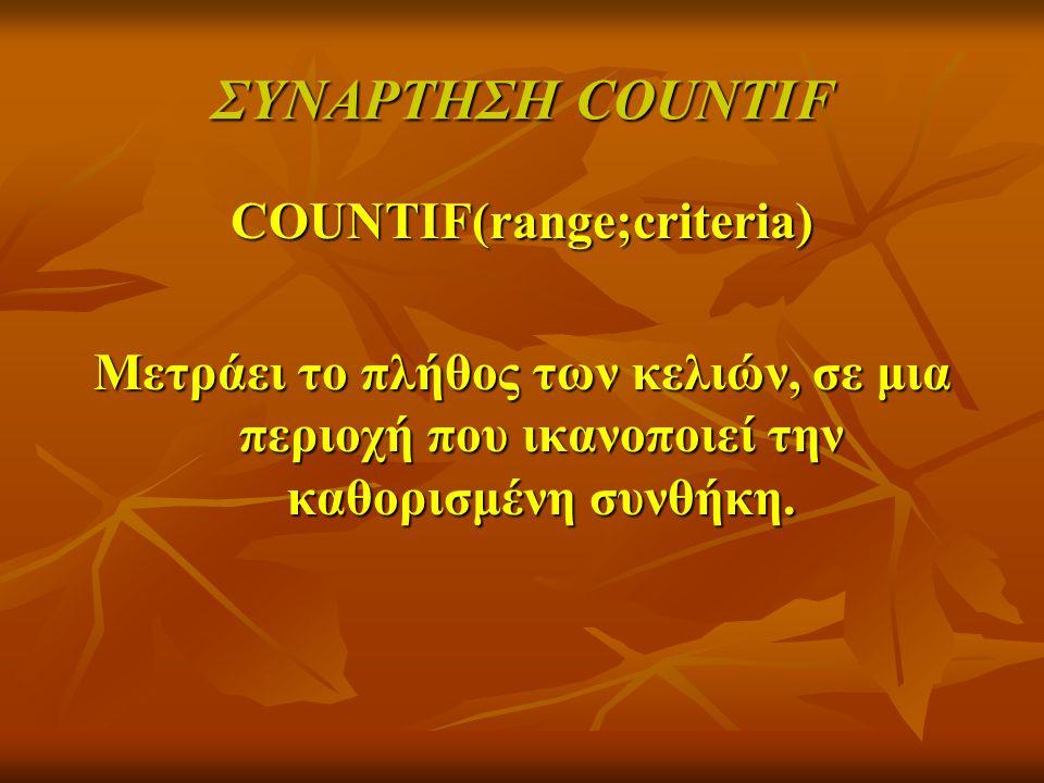 ΣΥΝΑΡΤΗΣΗ COUNTIF COUNTIF(range;criteria) Μετράει το πλήθος των κελιών, σε μια περιοχή που ικανοποιεί την καθορισμένη συνθήκη.