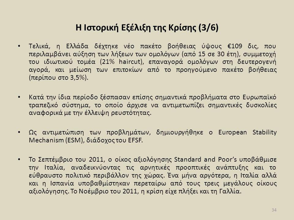 Η Ιστορική Εξέλιξη της Κρίσης (3/6) • Τελικά, η Ελλάδα δέχτηκε νέο πακέτο βοήθειας ύψους €109 δις, που περιλαμβάνει αύξηση των λήξεων των ομολόγων (από 15 σε 30 έτη), συμμετοχή του ιδιωτικού τομέα (21% haircut), επαναγορά ομολόγων στη δευτερογενή αγορά, και μείωση των επιτοκίων από το προηγούμενο πακέτο βοήθειας (περίπου στο 3,5%).