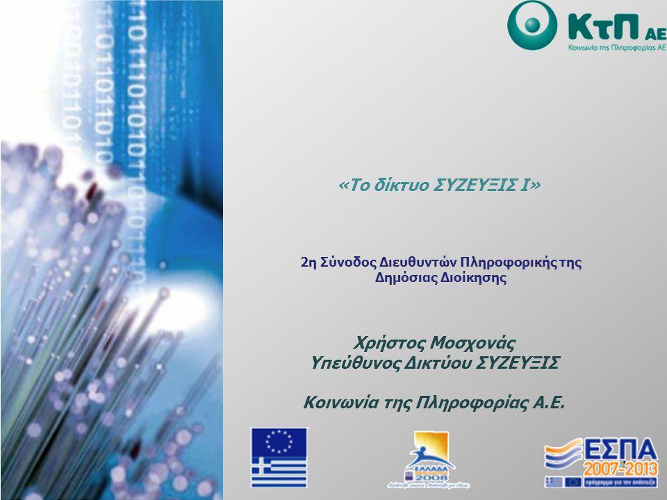 1 2η Σύνοδος Διευθυντών Πληροφορικής της Δημόσιας Διοίκησης Xρήστος Μοσχονάς Υπεύθυνος Δικτύου ΣΥΖΕΥΞΙΣ Κοινωνία της Πληροφορίας Α.Ε. «Το δίκτυο ΣΥΖΕΥ