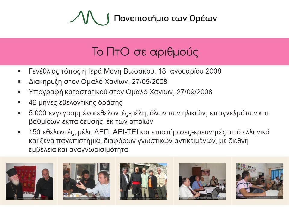 Το ΠτΟ σε αριθμούς  Γενέθλιος τόπος η Ιερά Μονή Βωσάκου, 18 Ιανουαρίου 2008  Διακήρυξη στον Ομαλό Χανίων, 27/09/2008  Υπογραφή καταστατικού στον Ομαλό Χανίων, 27/09/2008  46 μήνες εθελοντικής δράσης  5.000 εγγεγραμμένοι εθελοντές-μέλη, όλων των ηλικιών, επαγγελμάτων και βαθμίδων εκπαίδευσης, εκ των οποίων  150 εθελοντές, μέλη ΔΕΠ, ΑΕΙ-ΤΕΙ και επιστήμονες-ερευνητές από ελληνικά και ξένα πανεπιστήμια, διαφόρων γνωστικών αντικειμένων, με διεθνή εμβέλεια και αναγνωρισιμότητα