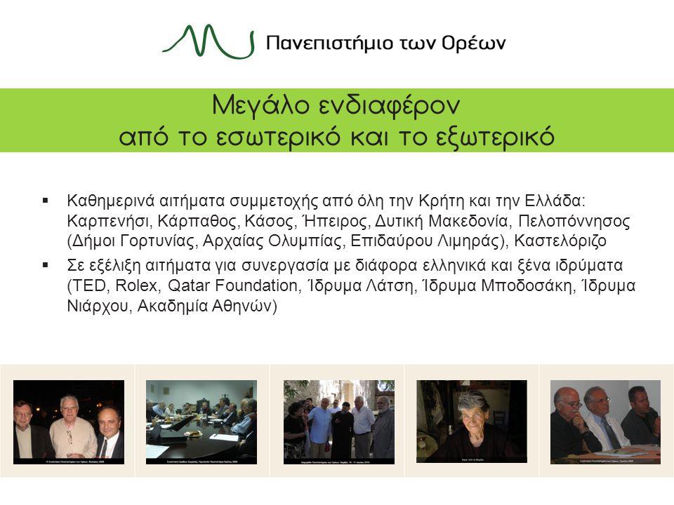 Μεγάλο ενδιαφέρον από το εσωτερικό και το εξωτερικό  Καθημερινά αιτήματα συμμετοχής από όλη την Κρήτη και την Ελλάδα: Καρπενήσι, Κάρπαθος, Κάσος, Ήπειρος, Δυτική Μακεδονία, Πελοπόννησος (Δήμοι Γορτυνίας, Αρχαίας Ολυμπίας, Επιδαύρου Λιμηράς), Καστελόριζο  Σε εξέλιξη αιτήματα για συνεργασία με διάφορα ελληνικά και ξένα ιδρύματα (TED, Rolex, Qatar Foundation, Ίδρυμα Λάτση, Ίδρυμα Μποδοσάκη, Ίδρυμα Νιάρχου, Ακαδημία Αθηνών)